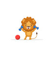 lion exercising with dumbbells cute african vector image vector image