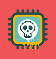 melting cpu icon with skull cyber security vector image vector image