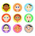 multiethnic avatars set in flat style vector image