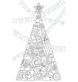 new year and christmas tree black and white vector image