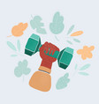 ofhuman hand holding dumbbell vector image vector image
