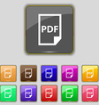 PDF Icon sign Set with eleven colored buttons for vector image