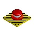 red emergency button with black and yellow
