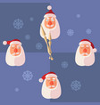 santa claus set with clock hands in flat vector image