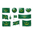 set mauritania flags banners symbols flat icon vector image vector image