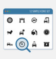 set of 12 editable car icons includes symbols vector image