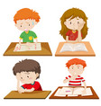 set of children study vector image