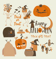 set of different halloween elements and characters vector image vector image