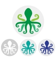 Silhouette of an octopus on light background vector image vector image