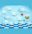 surreal landscape with hanging clouds balloons vector image vector image