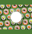 sushi banner with fresh rolls pattern on green vector image vector image