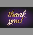 thank you gold golden text postcard banner logo vector image