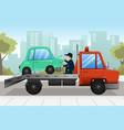 tow truck towing a broken down car vector image