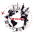 Travel background with earth and landmarks vector image