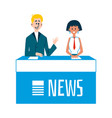 tv news show with news presenters characters flat vector image