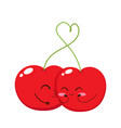 valentines day card with cute cherry kiss vector image vector image
