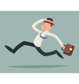 Vintage Businessman Running Hurry Race Rush vector image vector image