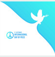 white dove for international peace day poster vector image vector image