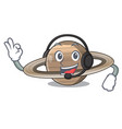 with headphone planet saturn above the sky cartoon vector image