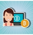 woman laptop bitcoin online vector image