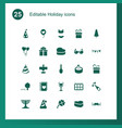 25 holiday icons vector image vector image