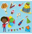 African- American cute boy with color balloons and vector image vector image
