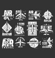 air travel pilot flight school and aviation icons vector image vector image