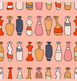 bottles different coloured seamless pink pattern vector image