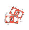 cartoon money icon in comic style dollar money vector image