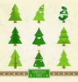 christmas tree set of icons on vector image vector image