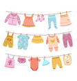 clothes on ropes clothesline kids cloth dry vector image vector image