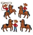cowboy and horse set vector image vector image