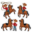 cowboy and the horse set vector image vector image
