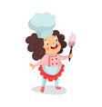 cute cartoon little girl chef character holding vector image vector image