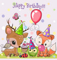cute deer and fox owls with balloon and bonnets vector image