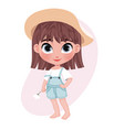 cute unshod little girl character in hat holding vector image vector image