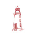 drawn lighthouse in marine vector image
