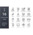 education line icons set black vector image vector image