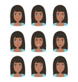 female young character face with different emotion vector image