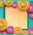 festive frame with colorful 3d chrysanthemum vector image vector image