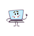 flat funny laptop character thumbs up vector image vector image