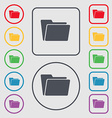 Folder icon sign symbol on the Round and square vector image