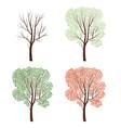 four seasons naturedecor tree set plant seasonal vector image