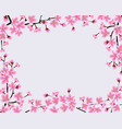 frame blossoming sakura branches with blank vector image vector image