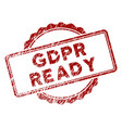 grunge textured gdpr ready stamp seal vector image