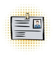 Identification card comics icon vector image vector image