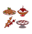 indian food isolated dishes chicken and rice vector image vector image