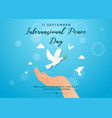international peace day with hold hand vector image vector image