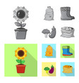 isolated object of farm and agriculture icon set vector image vector image