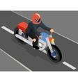 Isometric biker on the road top side view vector image vector image